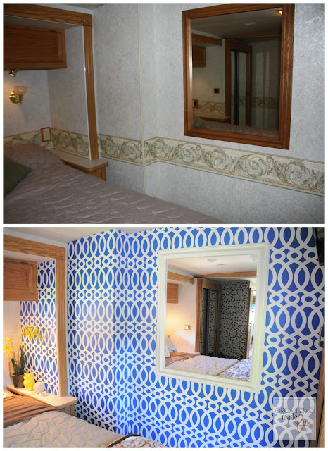 Before and After RV master bedroom wall transformed with wallpaper :: OrganizingMadeFun.com