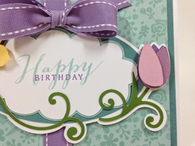 Cricut Floral Frame Birthday Card closeup right