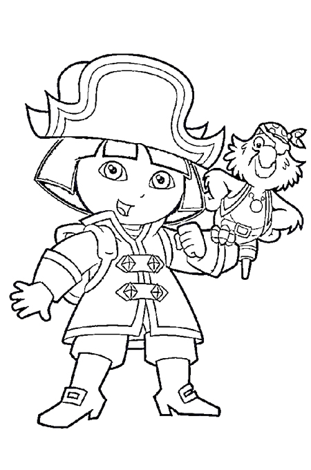 صورة طفل يرتدي ملابس القرصان ويحمل على يده الطائر للتلوين
