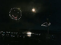 Fireworks show that includes a smiley face
