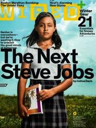 Foto de la portada de la revista Wire, donde la estudiante mexicana Paloma Noyola sale en la portada principal, siendo catalogada como la próxima Steve Jobs. Una mentira | Ximinia