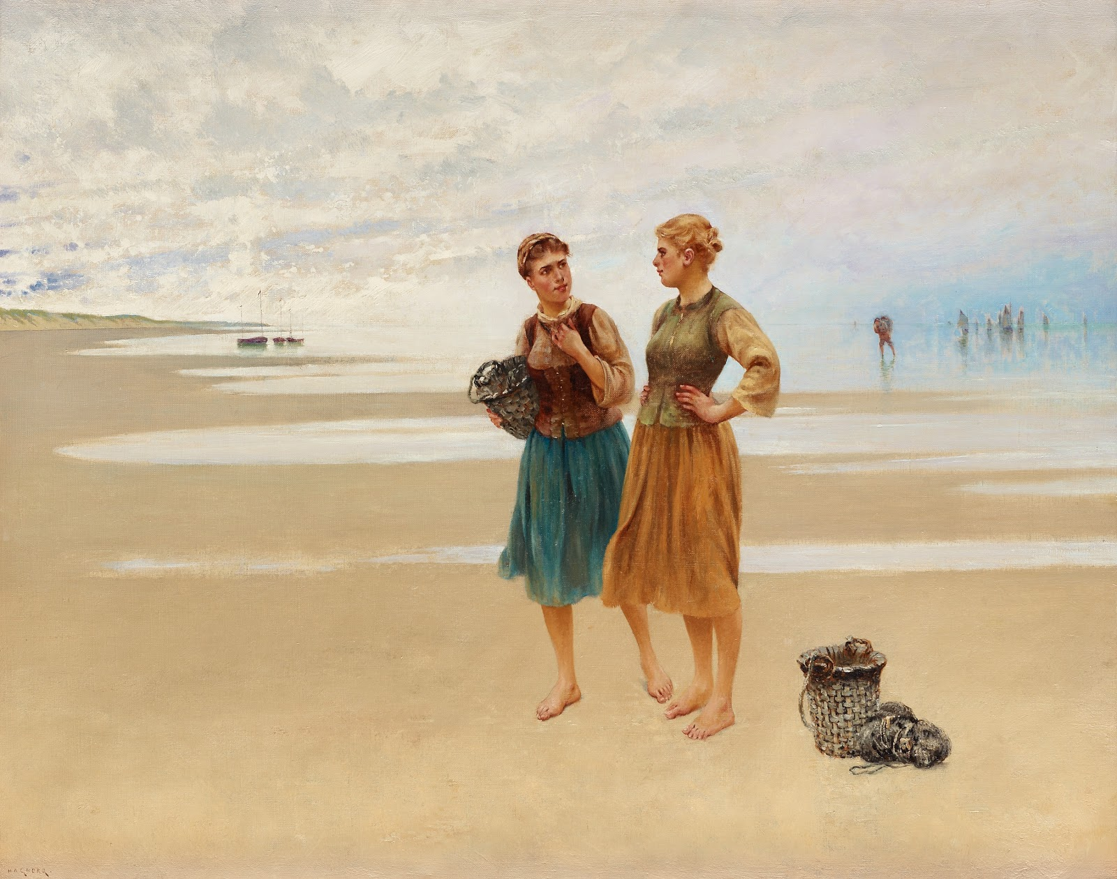 August Hagborg  each scene with french fisherwomen