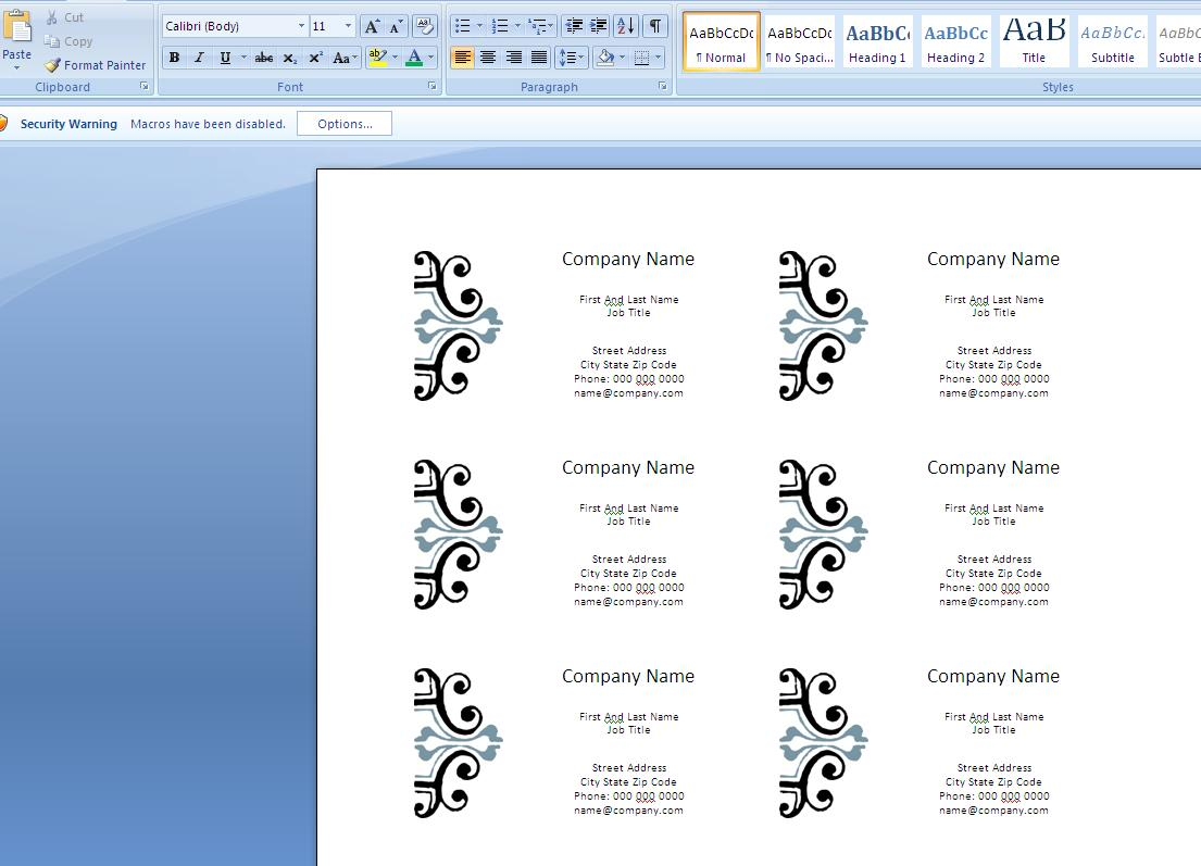 How to Create Business Cards in Microsoft Word 2007 ...