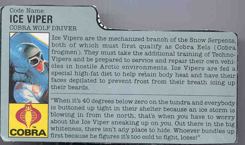 1987 Ice Viper, Cobra wolf, Filecard