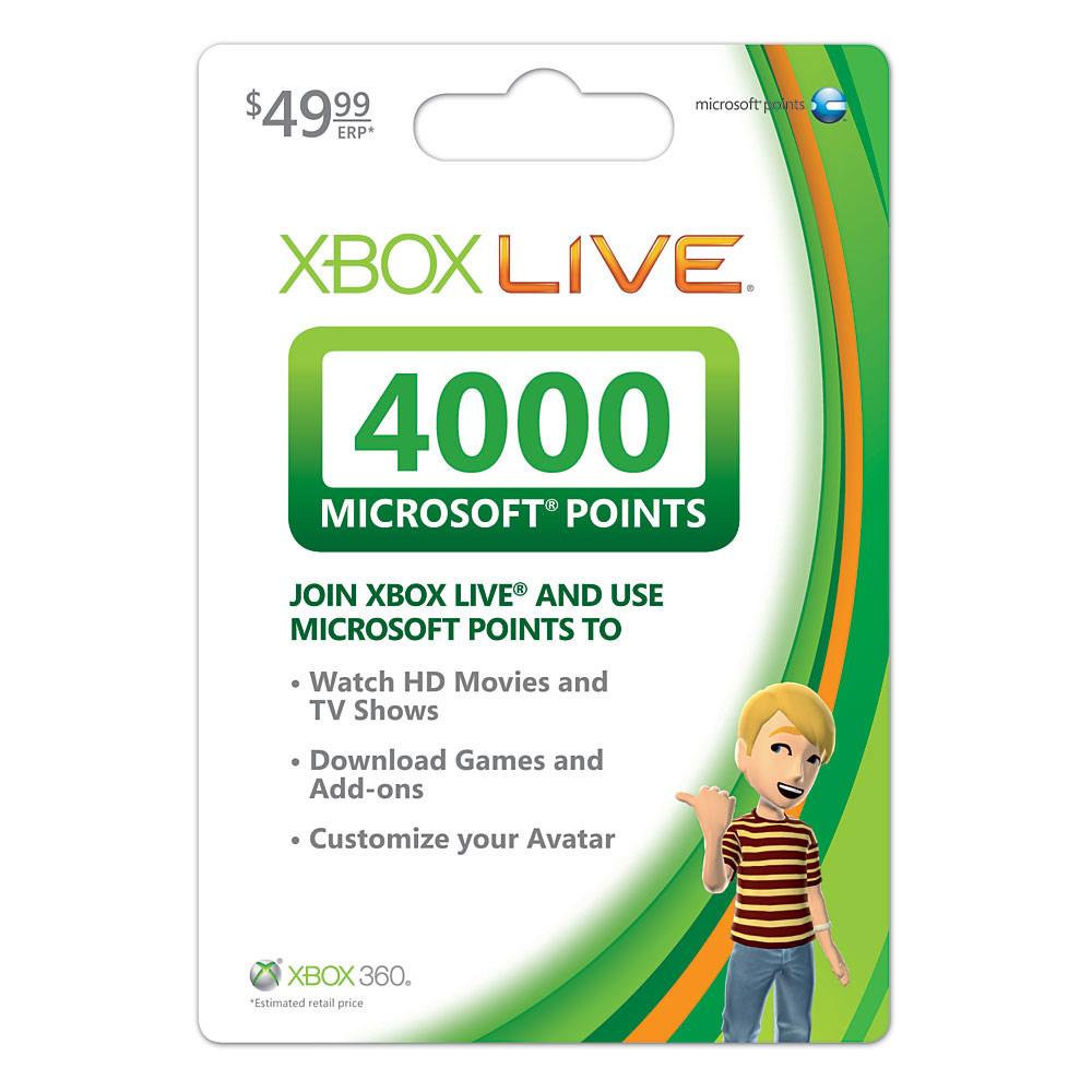 4000 microsoft points msp mp code xbox live 360 us version