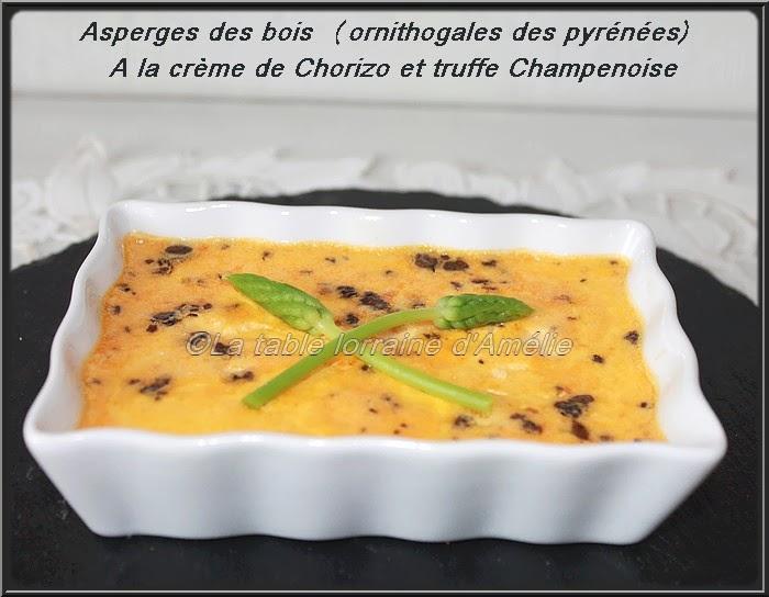 LA TABLE LORRAINE D'AMELIE Asperges des bois (Ornithogale des Pyrénées)à la cr u00e8me de chorizo  # Asperge Des Bois Saison Lorraine