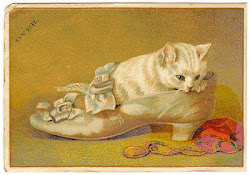 Vintage card - cat in the shoe