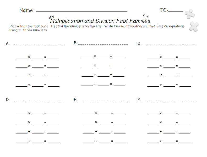 Free Worksheets Multiplication Fact Family Worksheets Grade 3 – Fact Family Worksheets Multiplication