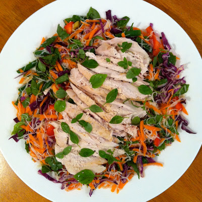 Southern Spoon Blog: chicken over noodle salad with basil