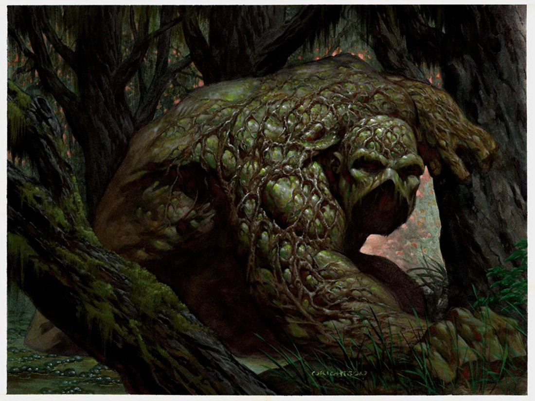 character sketch below a full colour illustration of swamp thing