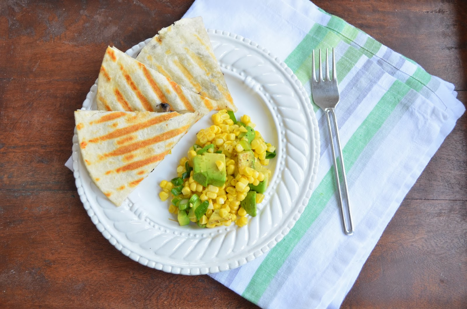 Grilled Portobello Quesadillas with Corn and Avocado Salad - Smell of Rosemary.