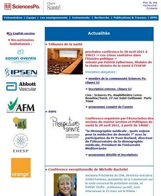 page accueil site internet chaire Santé de Sciences Po