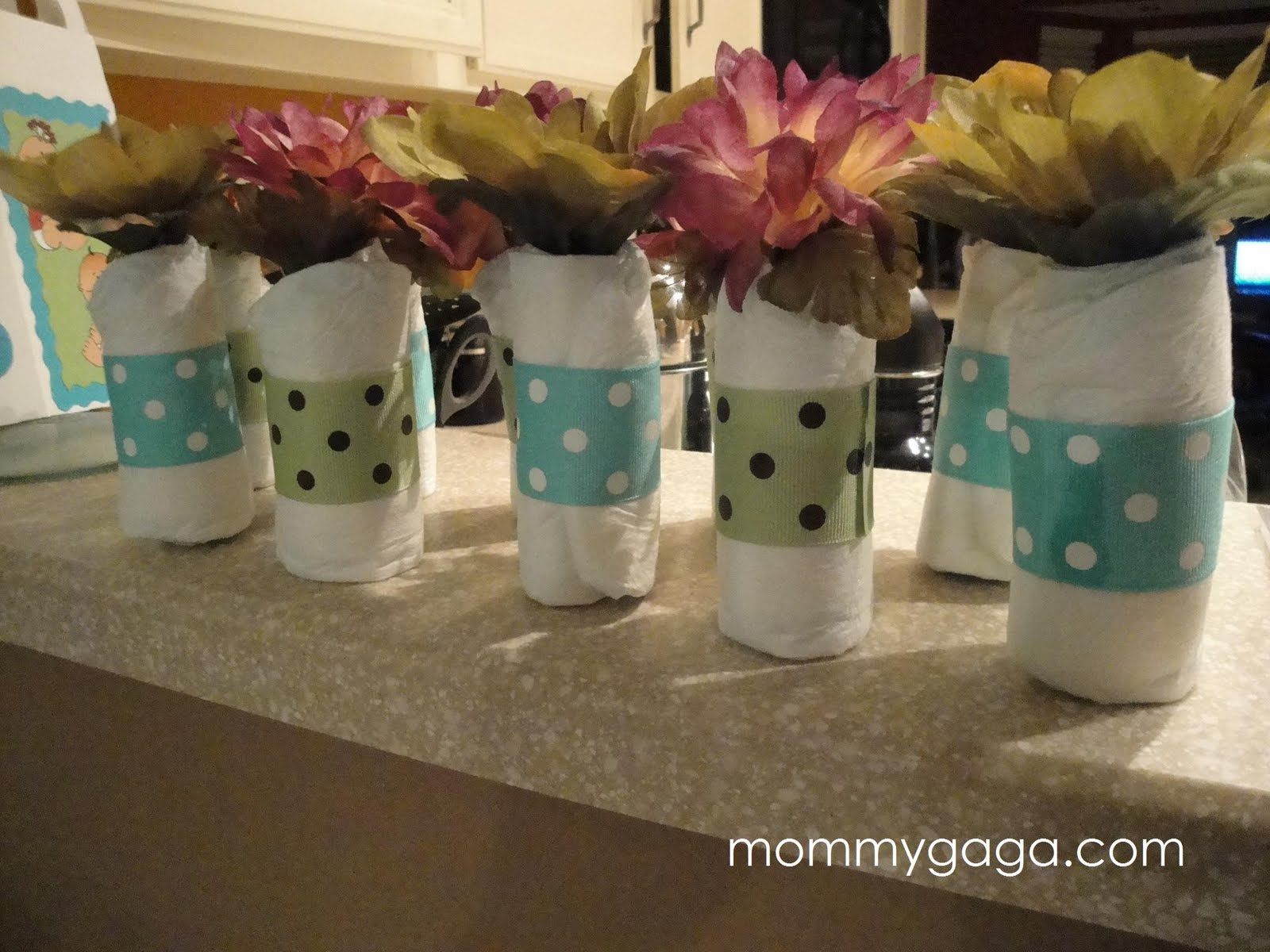 homemade baby shower decorations ideas for boys mini baby diaper rolls