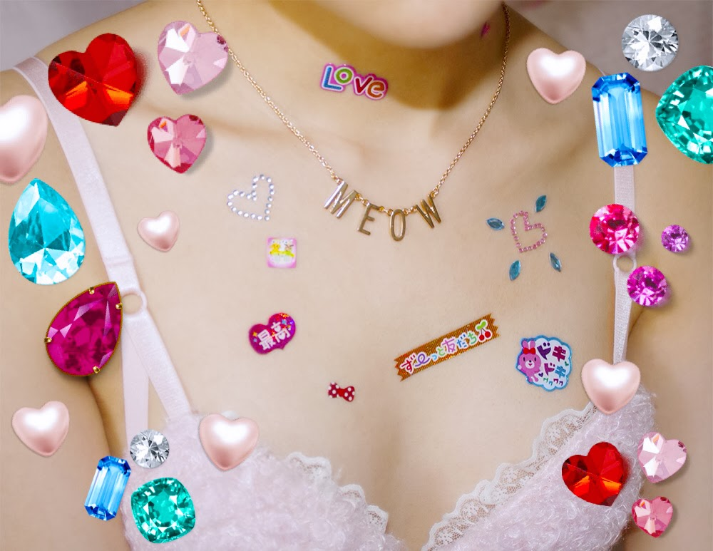 Body stickers on chest area and diamond stamps showing fluffy bra