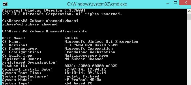 cmd systeminfo