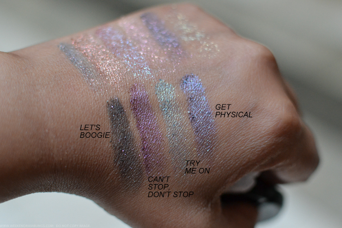 MAC Le Disko Collection Dazzleshadows Eyeshadows Swatches Lets Boogie Cant Stop Dont Stop Try Me On Get Physical