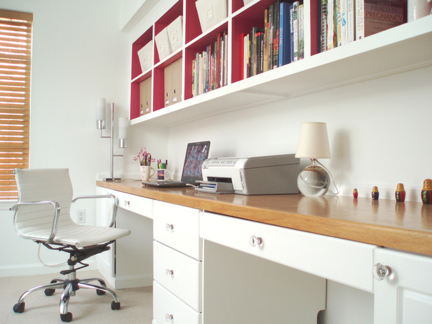 Small home office design ideas 2012 from hgtv modern for Study room wall cabinets