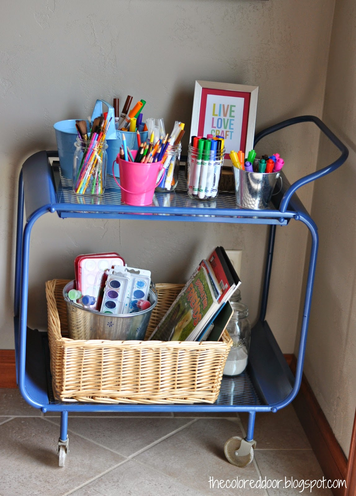 Kids craft cart, perfect for summer craft sessions l The colored door