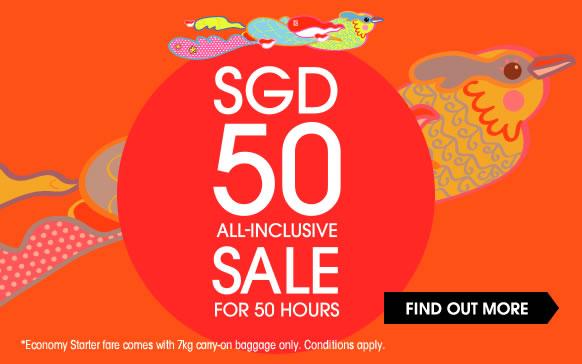 Jetstar 【SG50】優惠,新加坡 飛 香港 只需SGD 50(連稅),配合虎航來回連稅HK$732,1月出發!