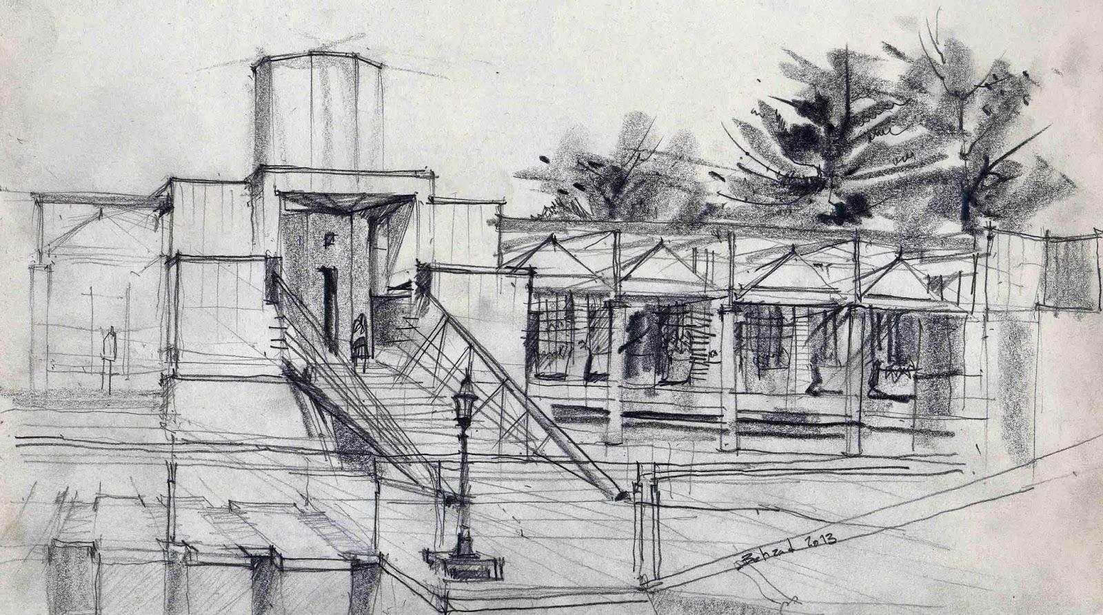 Sketch Life  Sketch Isfahan Buildings - Modern building sketches