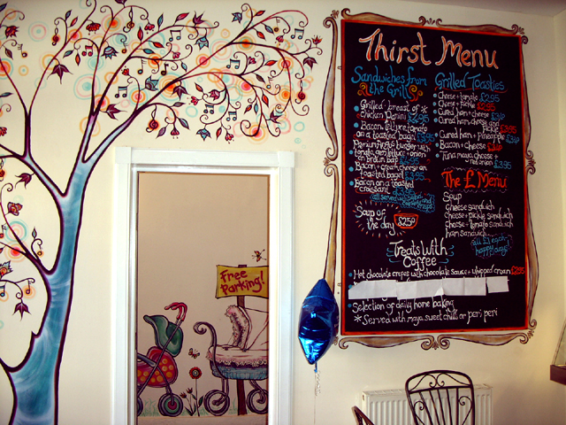 Mural painting thirst coffee shop for Coffee shop mural