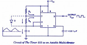 a free-running multivibrator(An astable multivibrator) based  on 555 timer