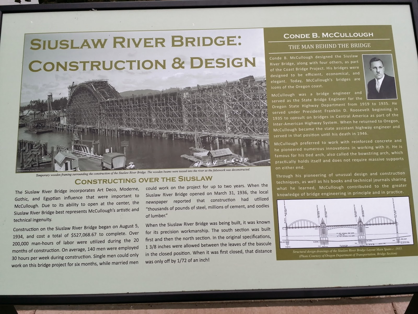 history of the Siuslaw River Bridge in Florence