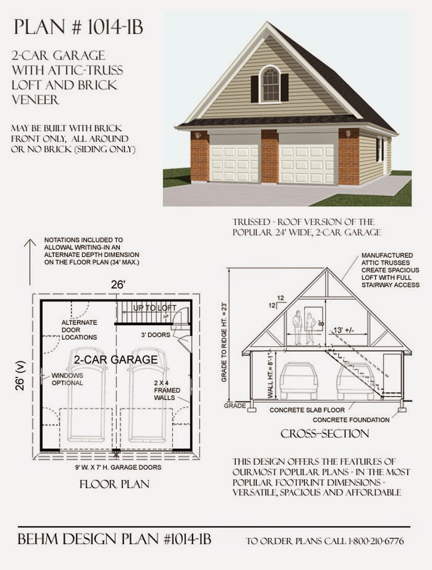 Garage plans blog behm design garage plan examples for How big is a two car garage