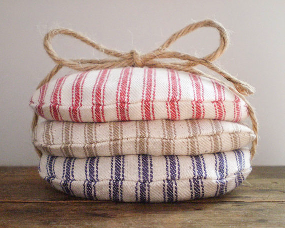 Handmade Carnival Beanbags in rustic cotton