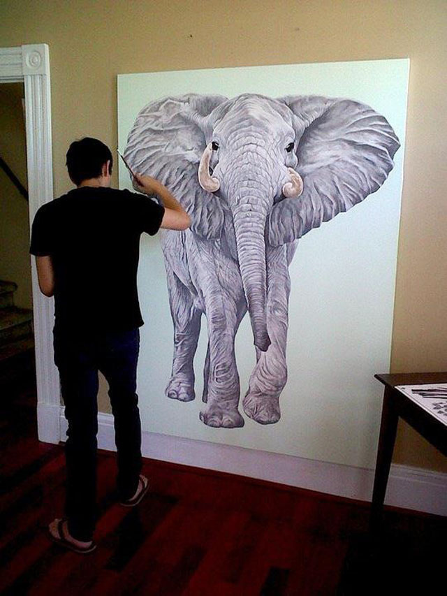 Scott Zaragoza, art in progress, elephant