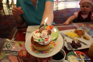 birthday cupcake, Chef Mickey's birthday cupcake, first birthday cupcake