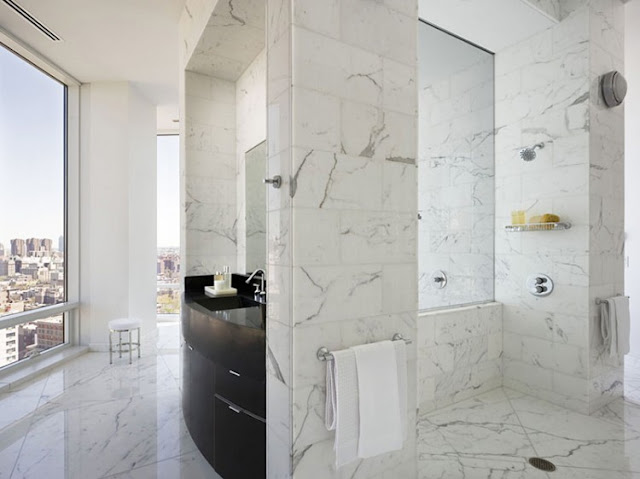 Photo of marble bathroom in one of the most beautiful penthouses