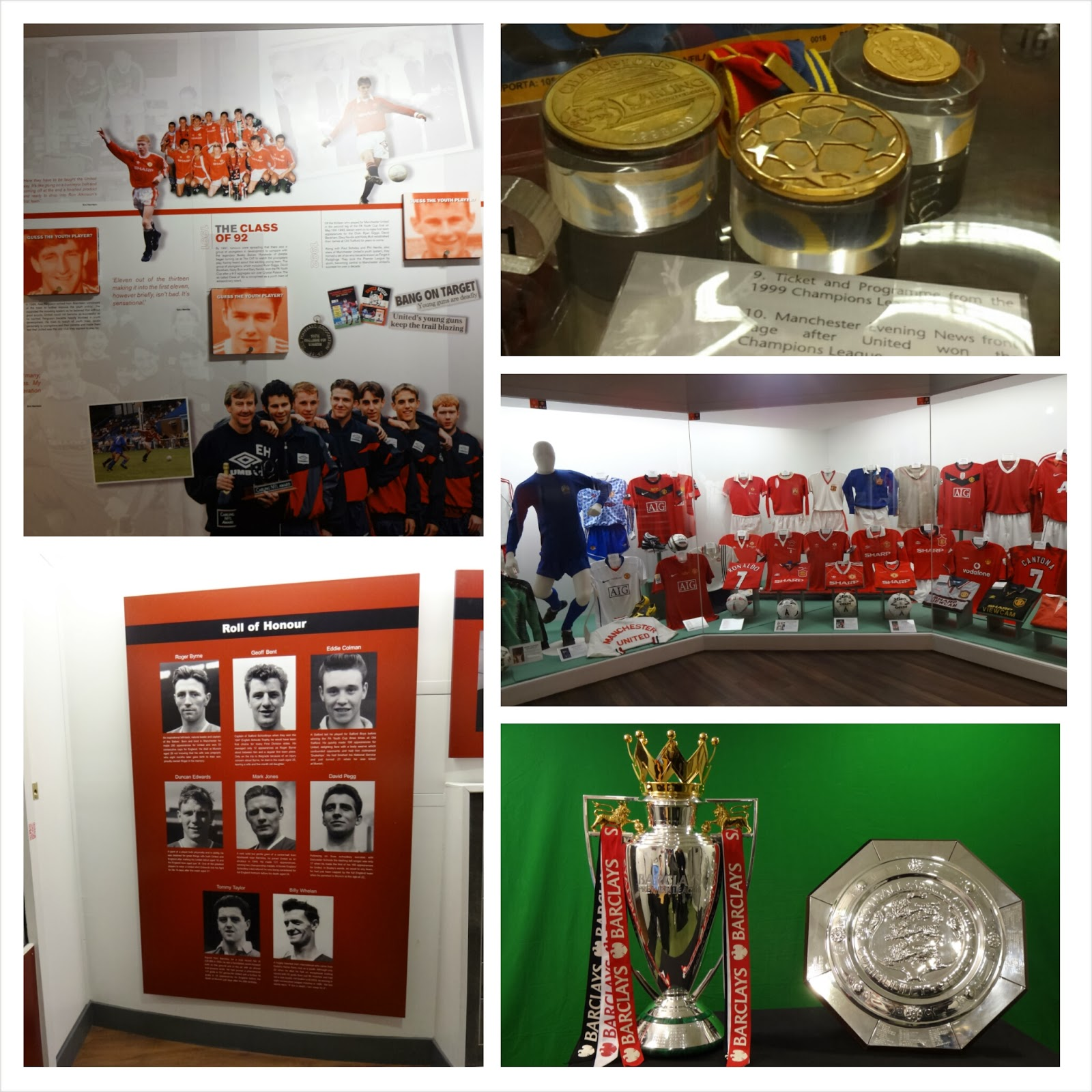 Manchester United Museum at Old Trafford, Class of 92, Busby Babes, Ryan Giggs Treble Medals, Premier League Trophy, Community Shield, Manchester United Shirts
