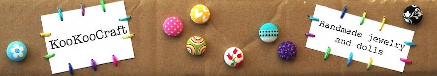 KooKooCraft: unique handmade fabric button earrings and rings, crocheted art dolls/ Unikaten nakit