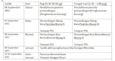 Berikut merupakan jadual pelaksanaan Program Apresiasi Merdeka sesi