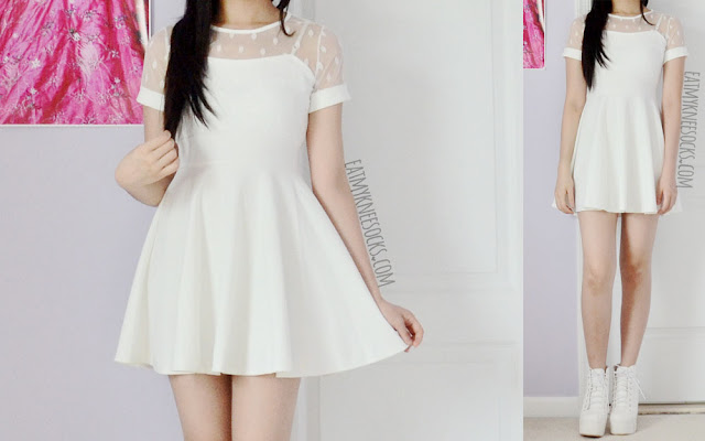 More photos of the cute ulzzang outfit, with the white mesh polka dot skater dress from Yumart and the white spiked platform booties.