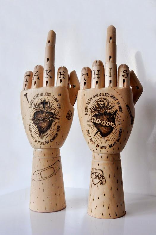 """""""Две леви ръце"""", 2013. Пирография върху дърво, вариращи размери"""