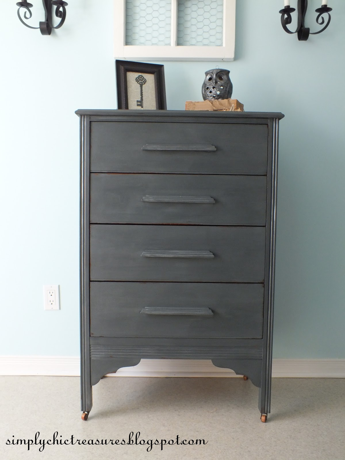Simply chic treasures dresser makeover in vermont slate for Vermont slate colors