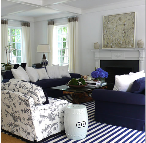 I love the mix here of block blue  stripes and floral. The Magnolia Tree  Navy Blue and White Striped Floor Rug