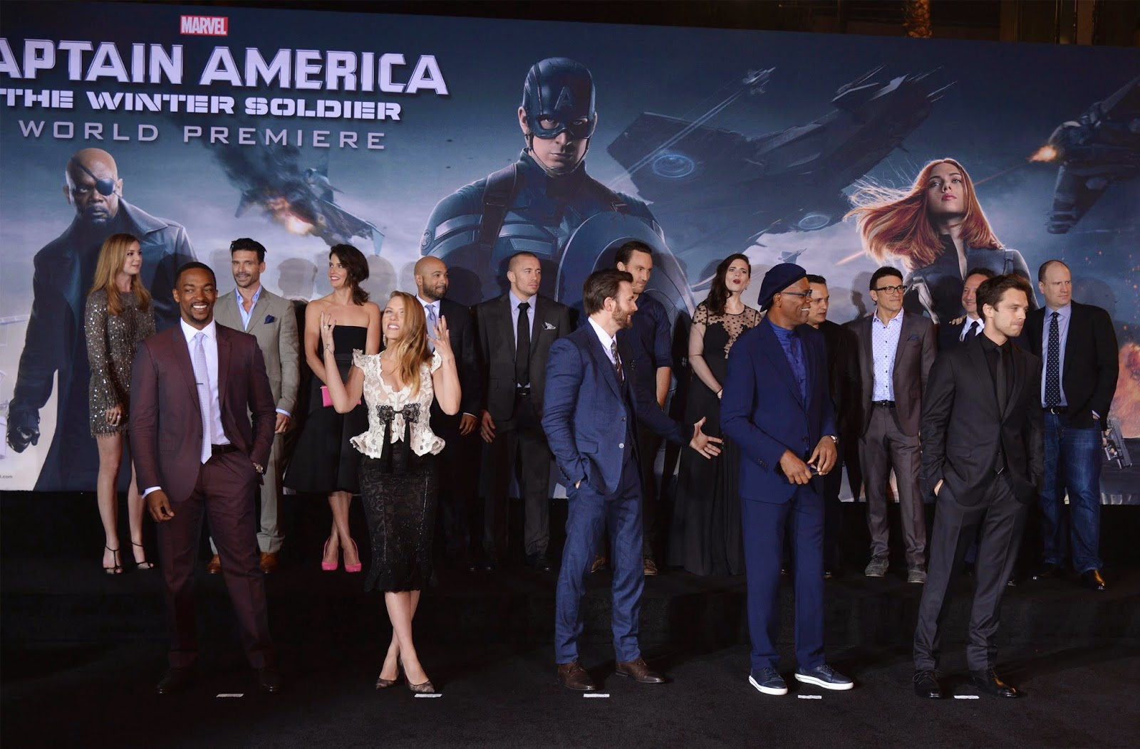 Anthony Mackie, Captain America, Chris Evans, El Capitan Theatre, Elizabeth Henstridge, Entertainment, Hollywood, Jeremy Renner, Samuel L. Jackson, Scarlett Johansson, Sebastian Stan, Showbiz, Winter Soldier,