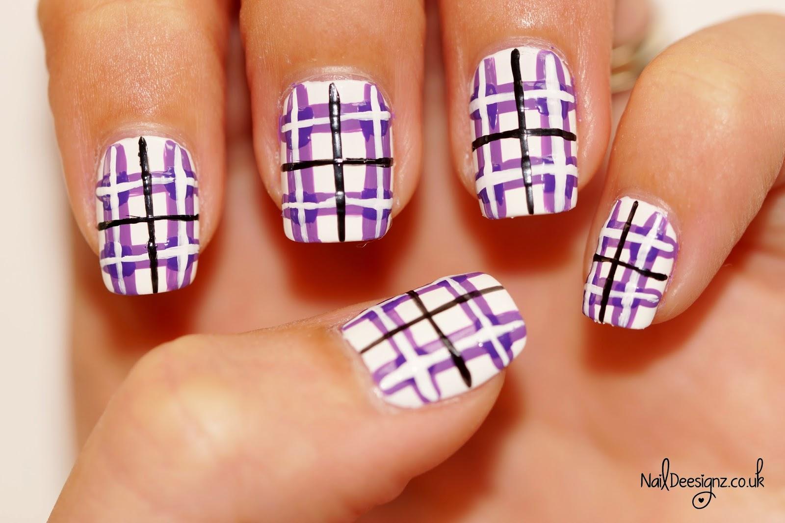 Naildeesignz Purple Tartan Nail Art