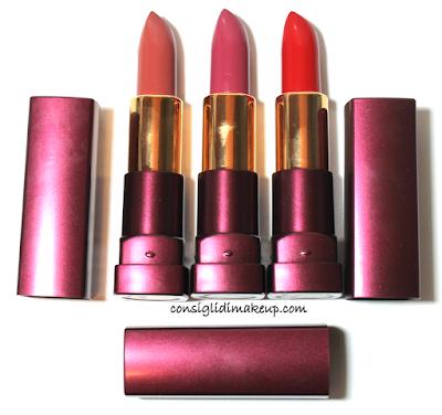 swatches papavero cannella e malva lipstick bv