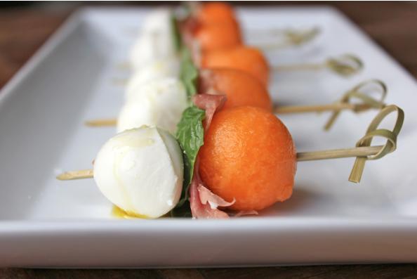 Cantaloupe Mozzarella Prosciutto SkewersServing Seconds