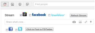 update facebook twitter otomatis di google plus, integrasi facebook di google+