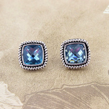 Brushed Metal with Built-in 3D Gems Earrings