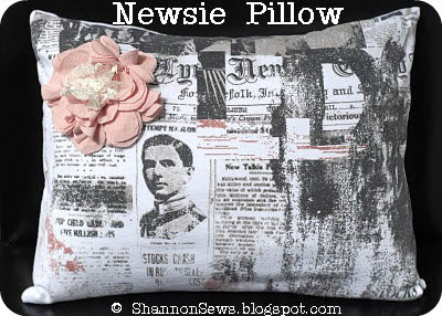 Newsprint fabric pillow case on etsy