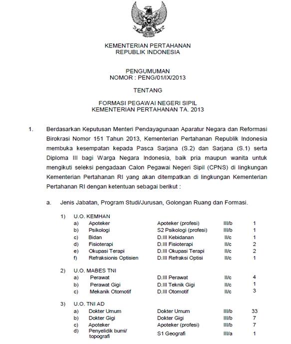 Pengumuman Seleksi Penerimaan Calon Pegawai Negeri Sipil (CPNS) Kementerian Pertahanan RI Tahun 2013 - September 2013