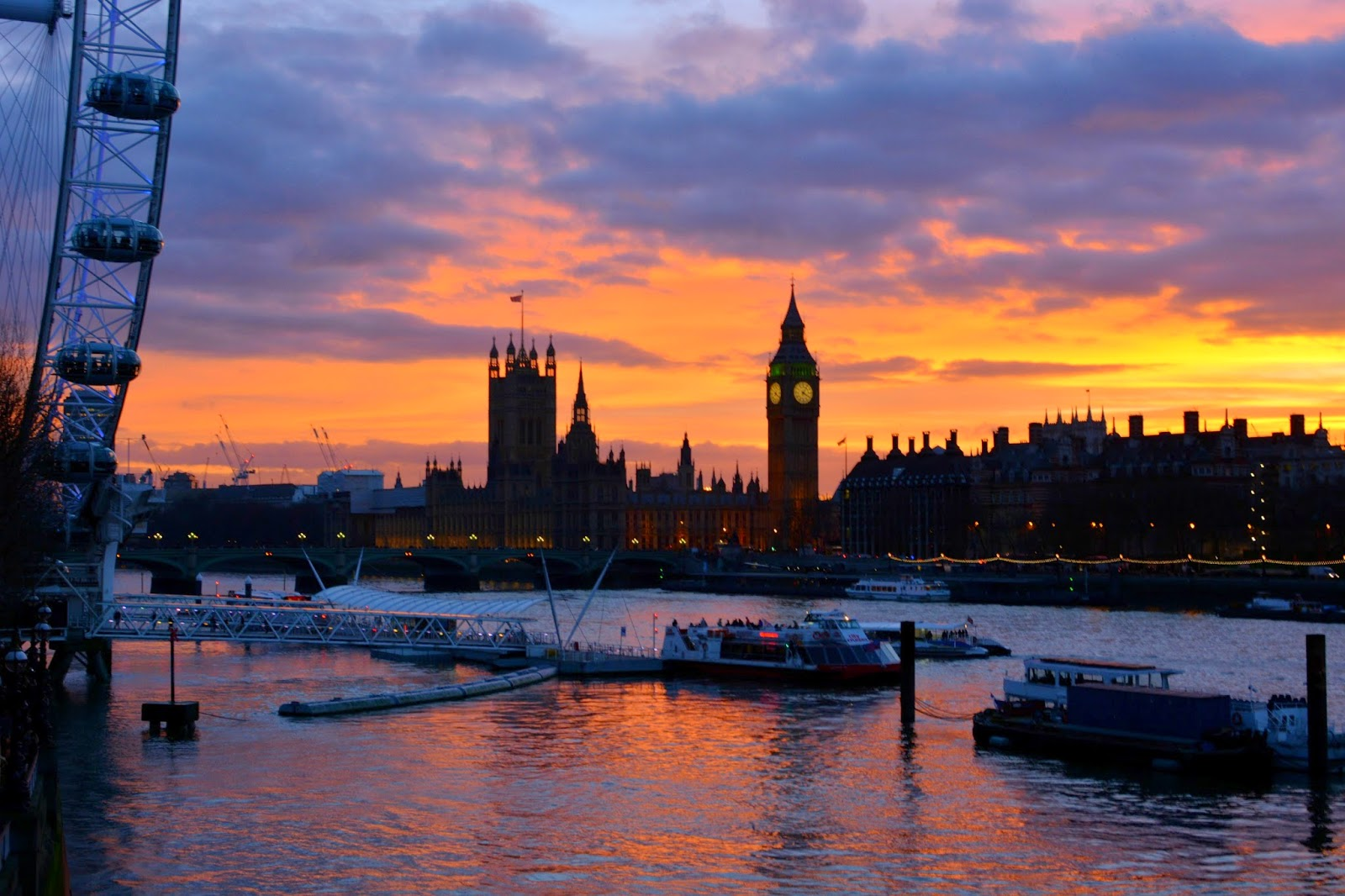Sunset over Westminster in London