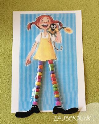 Pippi-Langstrumpfs Strumpf DIY, Smarties, Kinder, Kindergarten, Karte, Funny, bunt