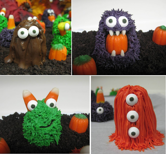 Halloween Little Monster Cake Balls - Individual Close-Up View Collage 3